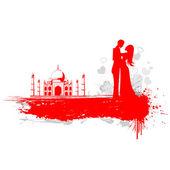 Couple in Taj Mahal — Stock Vector