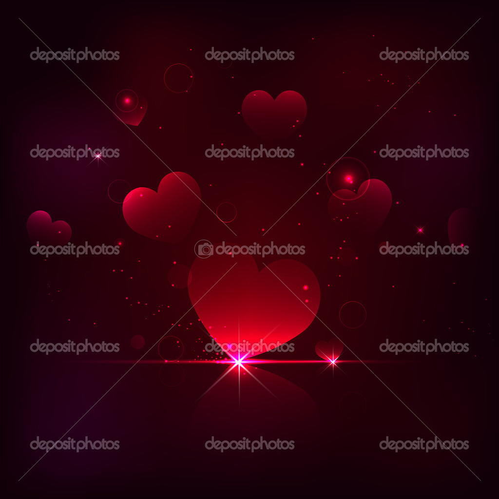 Illustration of shiny heart on love background — Stock Vector #18898189