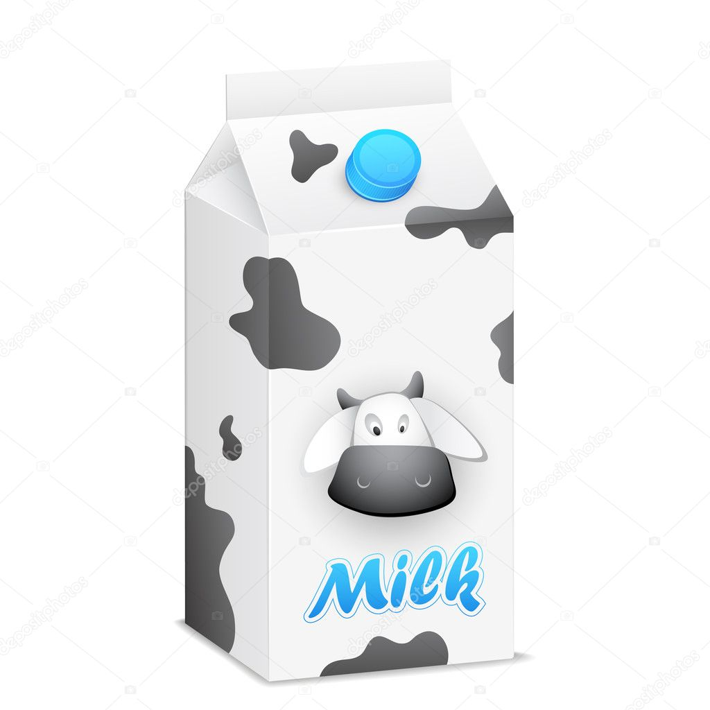 Illustration of milk tetrapack in cow skin texture — ベクター素材ストック #18899925
