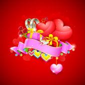 Liebe hintergrund mit herz und geschenke — Stockvektor