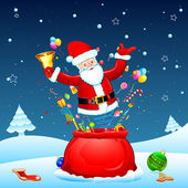 Santa poing uit zak — Stockvector
