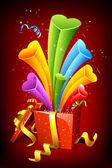 Dışarı kalpleri poping hediye kutusu — Stok Vektör