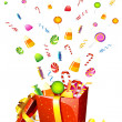 Candy poping out of gift box - Stock Vector