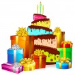 Stock Vector: Cake with colorful gift boxes