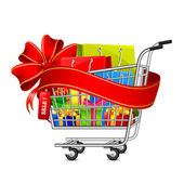 Sale Gift Box in Shopping Cart — Stock Vector