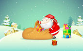 Santa Claus with Gift Bag — Stock Vector