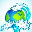 Tsunami on Earth — Stock Vector