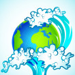 Stock Vector: Tsunami on Earth