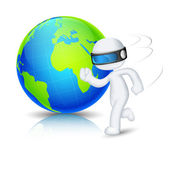 3d Man running around Globe — Stock Vector