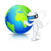 3d Man running around Globe — Stock Vector