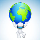 3d Man in Vector holding earth on his back — Stock Vector
