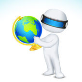 3d Man showing Globe — Stock Vector