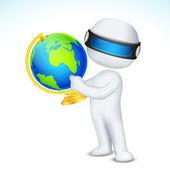 3d Man showing Globe — Stock Vector
