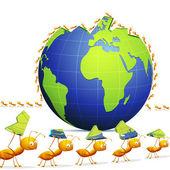 муравей, создавая мир — Cтоковый вектор