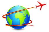 Vliegtuig rond de aarde — Stockvector