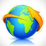 Arrow around Globe — Stock Vector