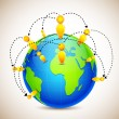 Globe with World Wide Human Network — Vettoriali Stock