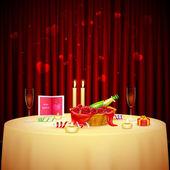 ужин при свечах для святого валентина — Cтоковый вектор
