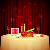 Candlelight Dinner for Valentine's Day — Stok Vektör