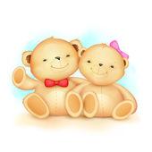Cute Couple of Teddy Bear — Stock Vector