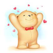Teddy Bear on Love Background — Stock Vector