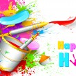 Holi Background with bucket of color — 图库矢量图片