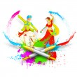 Stock Vector: Couple Playing Holi