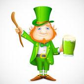 Leprechaun with beer mug wishing Saint Patrick's day — Stock Vector