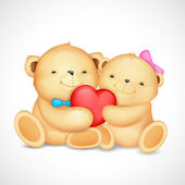 Teddy Bear Couple hugging heart — Stock Vector