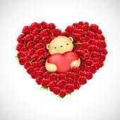 Casal de ursinho com balão de coração — Vetor de Stock
