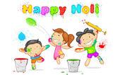 Kids playing Holi — Stock Vector