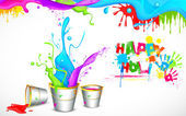Holi Background with Bucket of color — Stock Vector