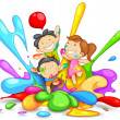 Stock Vector: Kids playing Holi