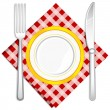 Royalty-Free Stock Vectorafbeeldingen: Fork and Knife with Plate
