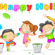Kids playing Holi - Stockvectorbeeld