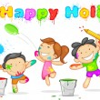 Kids playing Holi - Image vectorielle