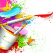 Holi Background with bucket of color - Stock Vector
