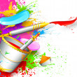 Holi Background with bucket of color — Stock Vector #22304611