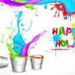 Holi Background with Bucket of color — Stock Vector #22306143