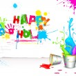 Holi Background with Bucket of color — Stock Vector #22308383