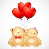 Cute Couple of Teddy Bear holding Heart Balloon — Stock Vector