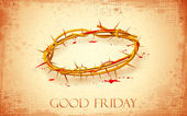 Good Friday Background with Crown of Thorns — Stock Vector