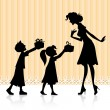 Kids giving gift to Mother - Stock Vector