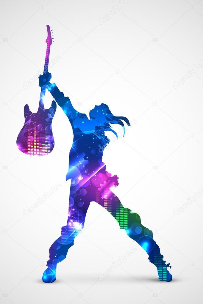 吉他的摇滚歌手 — 图库矢量图像08