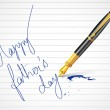 Pen writing Happy Father's Day message — Stock Vector