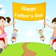 Kids flying with Happy Father's Day Banner — Stock Vector
