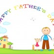 Father with Kids in Father's Day background — Stock Vector