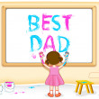 Girl painting Best Dad — Stock Vector
