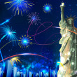 Statue of Liberty on Firework background — Stock Vector
