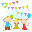 Kids in Celebration Background — Vector de stock #26308755